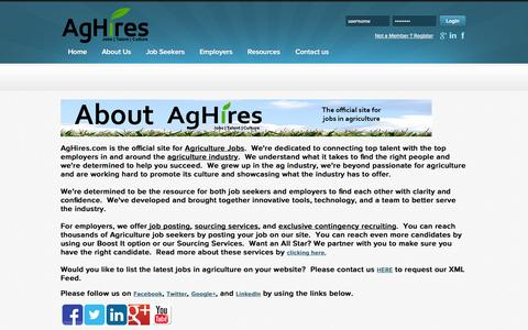Screenshot of About Page aghires.com - AgHires - Agriculture Jobs : About us - captured Sept. 30, 2014
