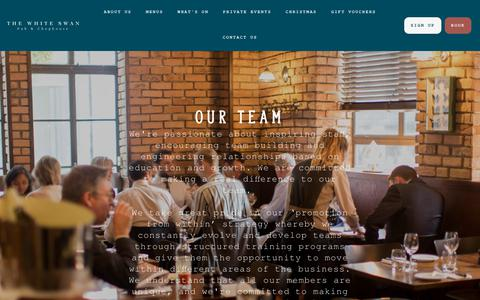 Screenshot of Team Page thewhiteswanlondon.com - The White Swan | Our Team | Farringdon - captured Oct. 18, 2018