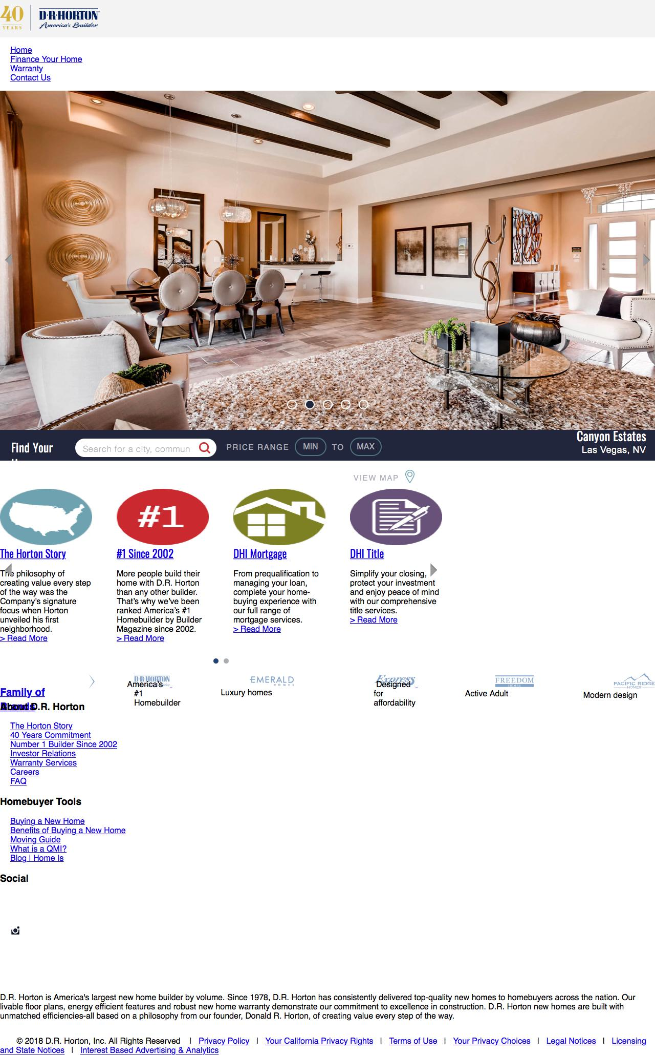Screenshot of drhorton.com - America's Largest Home Builder | D.R. Horton - captured June 26, 2018