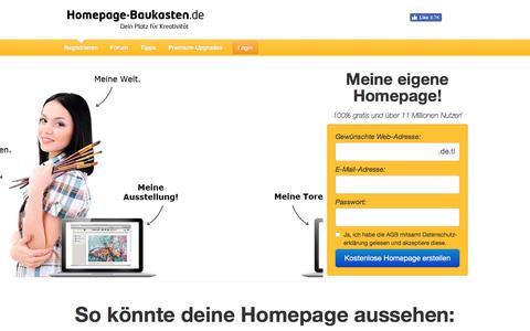 Screenshot of Home Page homepage-baukasten.de - Kostenlose Homepage erstellen - 100% gratis! - captured July 10, 2017