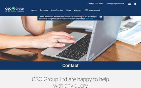 Screenshot of Contact Page csotechnik.com - Contact Us - CSO Group - captured Sept. 25, 2018