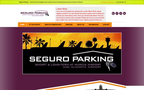 Screenshot of Home Page seguroparking.com - Long and Short Term Parking at Murcia, Alicante and Almería Airport - captured Sept. 30, 2014