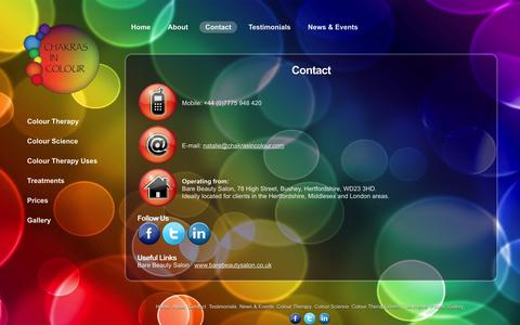 Screenshot of Contact Page chakrasincolour.com - Contact details for Chakras in Colour - captured Sept. 29, 2014