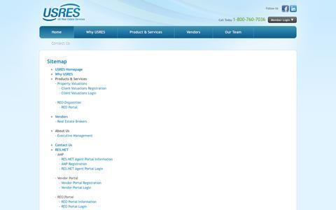 Screenshot of Site Map Page usres.com - USRES | US Real Estate Services | Site Map - captured Oct. 26, 2014