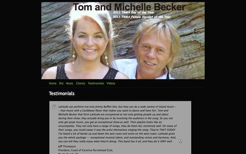 Screenshot of Testimonials Page webs.com - Testimonials - Tom and Michelle Becker - captured Sept. 16, 2014