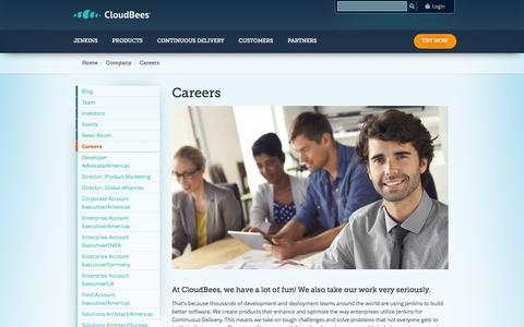 Screenshot of Jobs Page cloudbees.com - Careers | CloudBees - captured Oct. 28, 2014