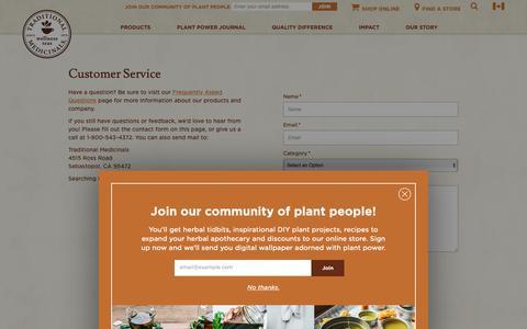 Screenshot of Contact Page traditionalmedicinals.com - Contact Us - captured Nov. 8, 2018