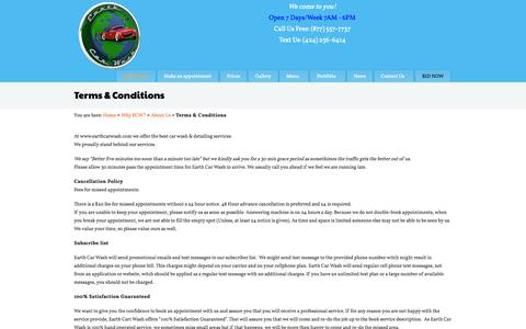 Screenshot of Terms Page earthcarwash.com - ECW Terms Conditions, Best safe mobile car wash - captured Sept. 27, 2014