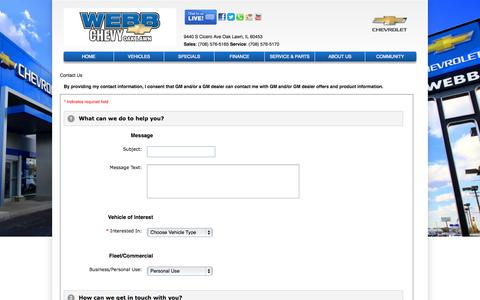 Screenshot of Contact Page webbchevroletoaklawn.com - Webb Chevrolet Oak Lawn – Oak Lawn, Chevrolet dealership – contact info, phone number, email address - captured Oct. 9, 2014
