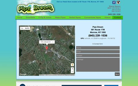 Screenshot of Contact Page pipedreamny.com - Vape Shop, Supplies, Water Pipes: Monroe, Newburgh, NY: Pipe Dream | Contact - captured Nov. 7, 2016