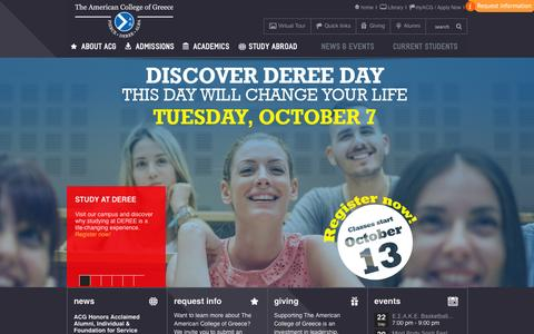 Screenshot of Home Page acg.edu - The American College of Greece | pages - captured Sept. 19, 2014