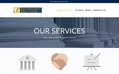 Screenshot of Services Page govsol.com - Government Relations For Land Use Issues   Government Solutions Inc - captured Sept. 30, 2018