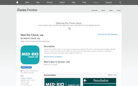 Screenshot of iOS App Page apple.com - Med Rio Check-up on the App Store on iTunes - captured Oct. 27, 2014