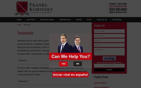 Screenshot of Testimonials Page fklegal.com - Testimonials :: Pompano Beach, Florida Injury Attorney Frankl & Kominsky - captured Feb. 10, 2016