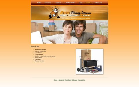 Screenshot of Services Page rescuemovingservices.com - Texas Moving Services - Apartment Movers - captured Oct. 26, 2014
