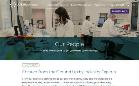 Screenshot of Team Page aitbioscience.com - Our People - AIT Bioscience - captured April 28, 2019
