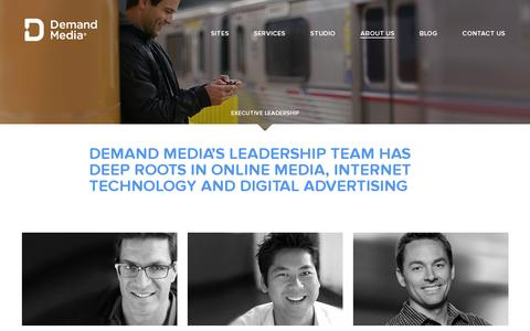 Screenshot of About Page demandmedia.com - Demand Media » Executive Leadership - captured July 20, 2014