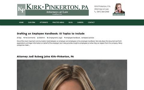 Screenshot of Press Page kirkpinkerton.com - Blog | Kirk Pinkerton, P.A. | Sarasota, Bradenton, Lakewood Ranch, Tampa - captured Oct. 17, 2017