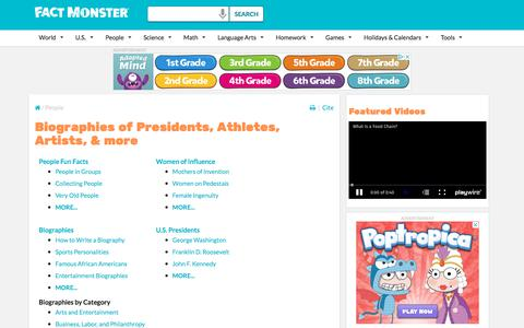 Screenshot of Team Page factmonster.com - Biographies - captured Sept. 22, 2018