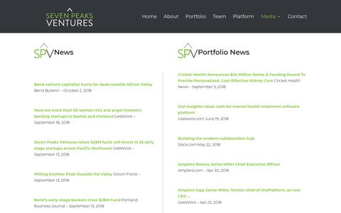 Screenshot of Press Page sevenpeaksventures.com - Seven Peaks Ventures Press - News and Portfolio News - captured Oct. 20, 2018