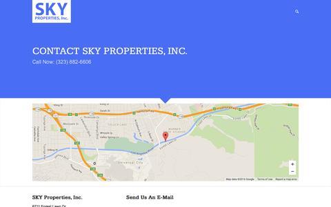 Screenshot of Contact Page skypropertiesinc.com - Contact Us | SKY Properties, Inc. - captured July 13, 2016