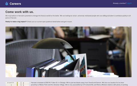Screenshot of Jobs Page hvst.com - Harvest - captured July 19, 2014