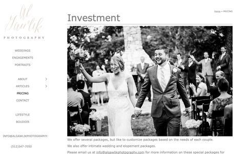 Screenshot of Pricing Page algawlikphotography.com - PRICING - AL Gawlik Photography - captured Oct. 3, 2018