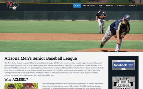 Screenshot of Home Page azmsbl.com - Welcome to AZMSBL - Arizona Men's Senior Baseball League - captured March 4, 2016