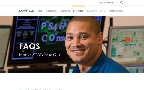 Screenshot of FAQ Page motiva.com - Base Oils FAQ - captured July 11, 2018