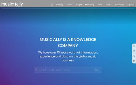 Screenshot of Home Page musically.com - Music Ally Is A Knowledge Company - captured Sept. 11, 2018