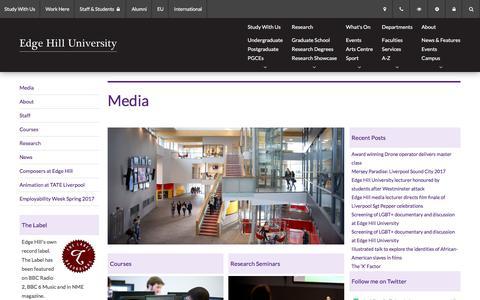 Screenshot of Press Page edgehill.ac.uk - Media - Edge Hill University - captured July 16, 2017