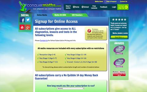 Screenshot of Signup Page conquermaths.com - Maths Tutor Online for Ages 4 to 18, Maths Lessons, Maths Help, Maths Revision, Homework Help - captured Sept. 19, 2014