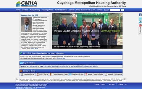 Screenshot of Home Page cmha.net - Welcome to the Cuyahoga Metropolitan Housing Authority Website - captured Sept. 19, 2017