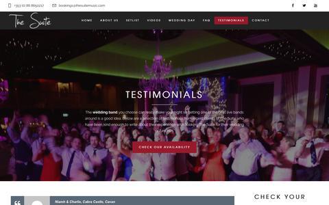 Screenshot of Testimonials Page thesuitemusic.com - Testimonials - The Suite Music - Wedding Entertainment - captured Oct. 20, 2018