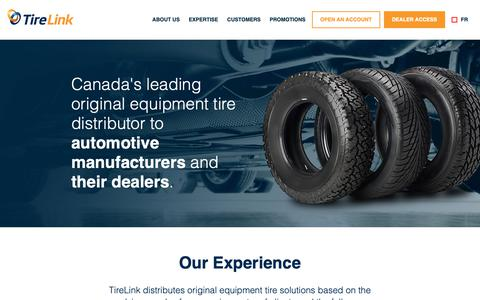 Screenshot of Home Page tirelink.ca - Tire Link - captured Nov. 18, 2018