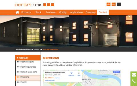 Screenshot of Maps & Directions Page centrimax.com - Your way to Centrimax - captured Sept. 24, 2018