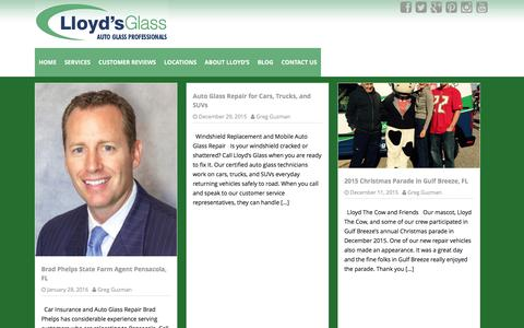 Screenshot of Blog lloydsglass.com - Lloyd's Glass   Auto Glass Professionals - captured Jan. 31, 2016
