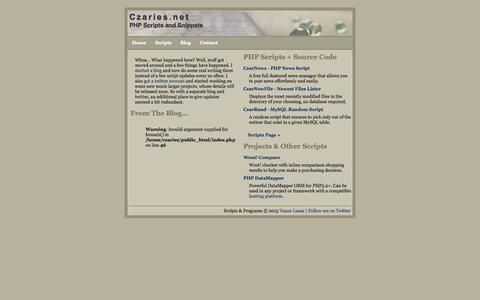Screenshot of Home Page czaries.net - Czaries.net // Main/News - captured Sept. 18, 2015