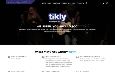 Screenshot of Testimonials Page tikly.co - Testimonials - Tikly - captured Sept. 21, 2018
