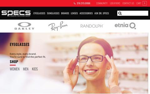 Screenshot of Home Page specseyewear.com - Specs Eyewear - Eyewear for Everywear - captured April 9, 2018