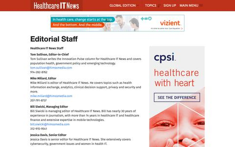 Screenshot of Contact Page healthcareitnews.com - Editorial Staff | Healthcare IT News - captured Dec. 14, 2018