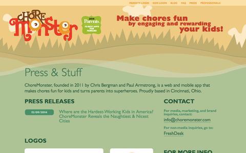 Screenshot of Press Page choremonster.com - Press & Stuff | ChoreMonster - captured Dec. 17, 2014