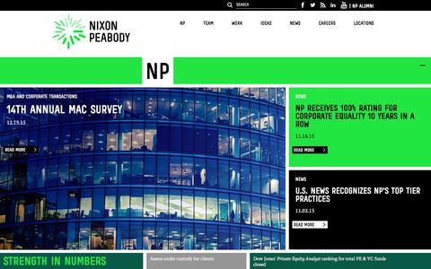 Screenshot of Home Page nixonpeabody.com - Nixon Peabody - captured Jan. 16, 2016