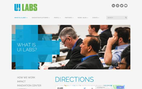 Screenshot of Maps & Directions Page uilabs.org - Directions | UI LABS - captured April 30, 2018