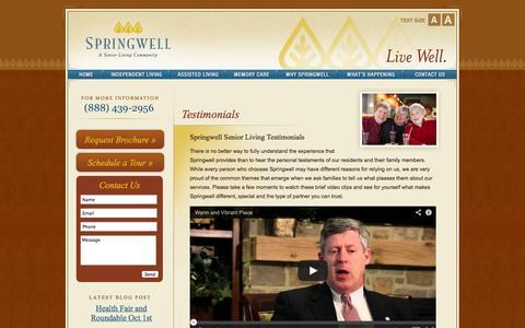 Screenshot of Testimonials Page springwellseniorliving.com - Assisted Living Testimonials | Springwell Senior Living - captured Sept. 30, 2014