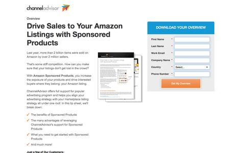 Screenshot of Landing Page channeladvisor.com - Drive Sales to Your Amazon Listings with Sponsored Products | ChannelAdvisor - captured April 6, 2017