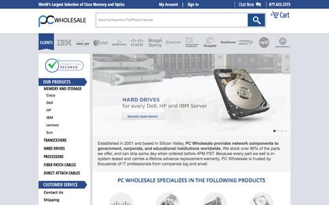 Screenshot of Home Page pc-wholesale.com - Router, Switch, and Server Memory and Optics for 50+ Brands - PC Wholesale - captured May 11, 2017