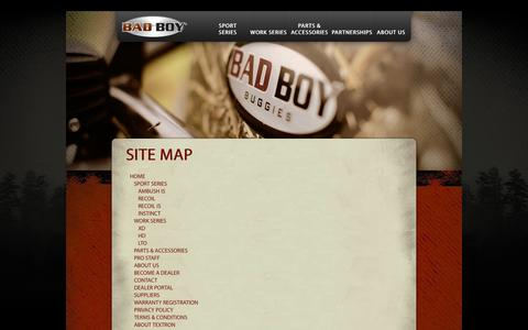 Screenshot of Site Map Page badboybuggies.com - Site Map - captured Feb. 7, 2016