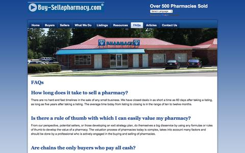 Screenshot of FAQ Page buy-sellapharmacy.com - Buy-SellaPharmacy.com - FAQs - captured Oct. 11, 2017