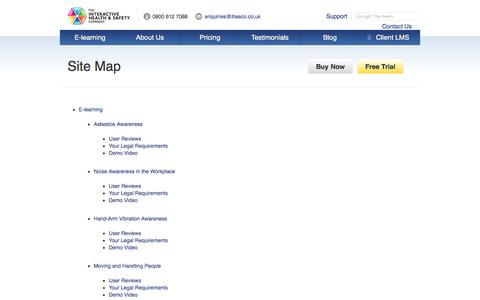 Screenshot of Site Map Page ihasco.co.uk - Site Map - IHASCO - captured Oct. 6, 2014